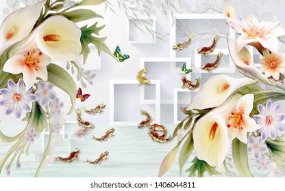mural 3d wallpaper Purple flower photo wallpaper decor painting 3d wall murals