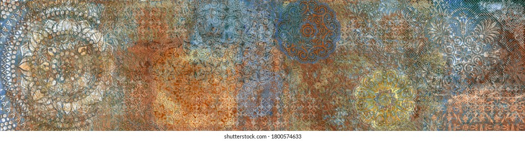 Mural Heavy Wall Decor; Visual Art with Heavily Mixed pattern; Vintage fresco pattern, retro ornament in gold,red,blue colors,Kaleidoscopic motif. Damask tile design,Elegant royal tile,Abstract Matt.