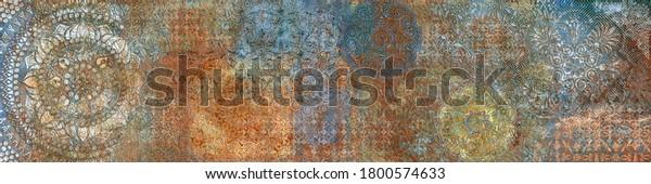 Visual Art Vintage fresco pattern, retro ornament in gold, red, blue colors, Kaleidoscopic motif. Damask design, Elegant royal tile, Abstract Matt.