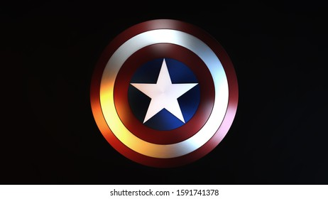 Murmansk,Russia-December,18,2019:Captain America Shield on black Background.Captain America is a fictional superhero appearing in American comic books published by Marvel Comics.3D render-Illustration