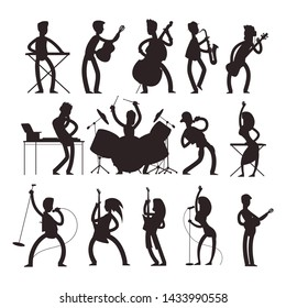 muscian silhouettes isolated on white background. Concert and performance musical jazz illustration