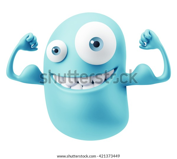 Muskel Fitness Emoticon Gesicht. 3d Rendering.