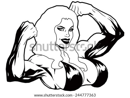 Muscle Girl With Big Breast Shows Double Bicepsillustrationblack And Whitedrawing