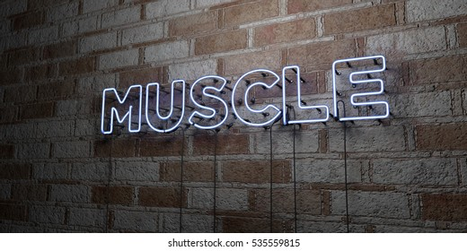 MUSCLE - Glowing Neon Sign on stonework wall - 3D rendered royalty free stock illustration.  Can be used for online banner ads and direct mailers.
