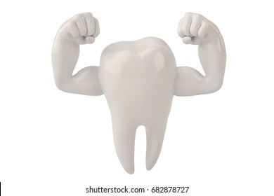 Muscle hands on  tooth strong healthy tooth 3D illustration