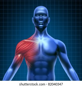 Muscle pain represented by a blue human concept with the red shoulder anatomy highlighted showing the medical structure under the skin.
