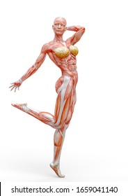 muscle woman doing a pin up pose in white background, 3d illustration