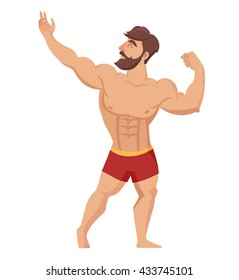 Muscular bearded man illustration. Fitness models, posing, bodybuilding. Isolated on white background. Gym muscular jock  in red shorts cartoon style. Bodybuilding character on gym
