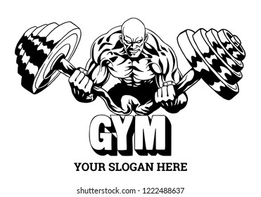 muscular bodybuilder flexes heavy barbell, illustration, logo, design