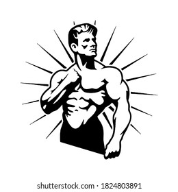 muscular bodybuilder posing, logo, cartoon, mascot, character, monochrome