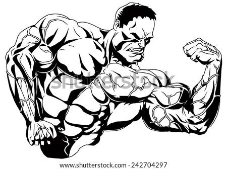 Muscular Bodybuilder Shows Bicepsillustrationblack