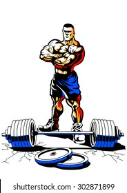 muscular bodybuilder with weight,illustration,color,logo,isolated on a white