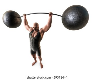 A muscular man with a handlebar mustache and a body suit lifting a weight with a bending bar.