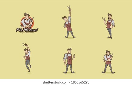 muscular stocky Barber vintage mascot badges character