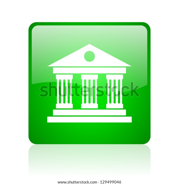 museum green square web icon on white background