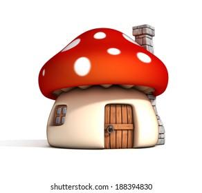 mushroom house 3d illustration