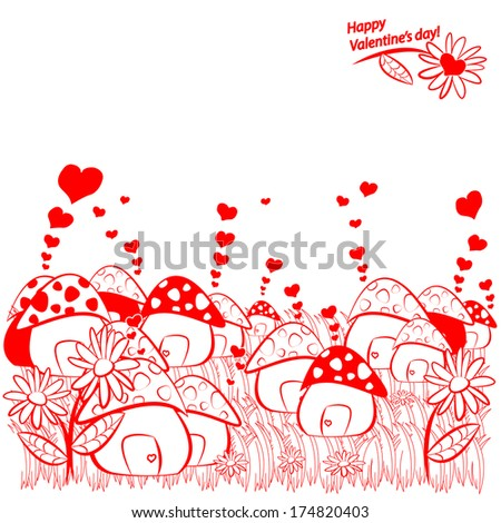 Mushroom Houses Small Village Valentines Day Stock Illustration