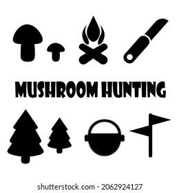 キノコ狩りのアイコン、ハイキングシンボル