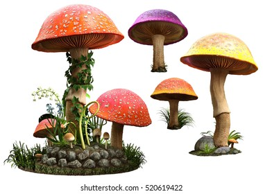 Mushrooms 3D illustration