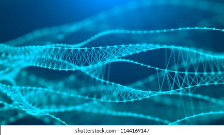Music abstract blue background. Molecular background with DNA. Network concept with connecting dots and lines. Futuristic technology AI element. Big data visualization. Sound wave. 3d rendering