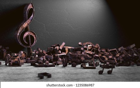 Music background design. 3d illustration of musical notes and musical signs of abstract music sheet.Songs and melody concept.