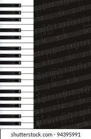 Music background with piano keys and notes. Raster version.