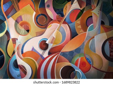 Music background, sound, handmade painting, music abstract, subject