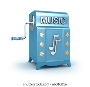 Music box - retro player , 3D image isolated on white.