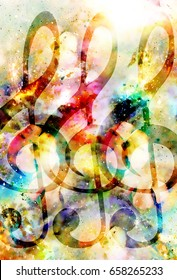 Music clef in space with stars. abstract color background. Music concept.