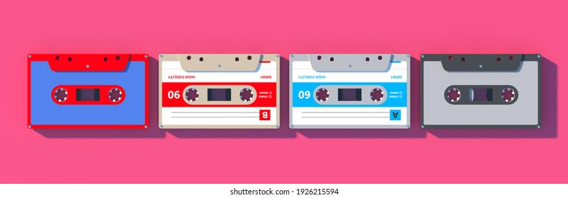 Music collection, Vintage retro party music, eighties songs. Audio cassette tapes on pink color background, top view, 3d illustration