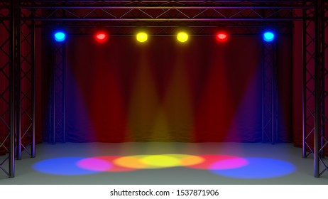 music concert stage light show setup follow spot color 3D illustration