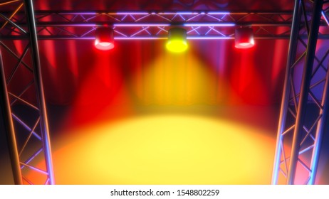 music concert stage light show spot 3D illustration