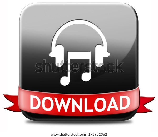 Music Download Button Play Listen Live Stock Illustration