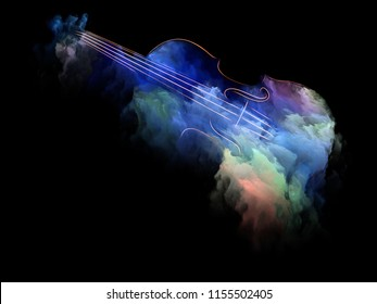 Music Dream series. Backdrop design of violin and abstract colorful paint for works on musical instruments, melody, sound, performance arts and creativity