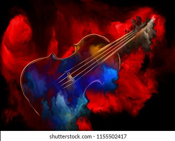 Music Dream series. Composition of  violin and abstract colorful paint for projects on musical instruments, melody, sound, performance arts and creativity