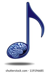Music education and medical therapy with a musical note containing a human brain as a symbol of teaching and learning the power of the arts.