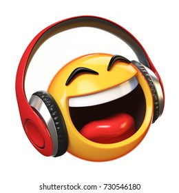 Music emoji with headphones isolated on white background, emoticon with earphones 3d rendering