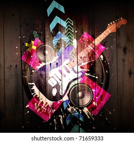 Music Event grunge background. Digital graffiti on a wooden fence