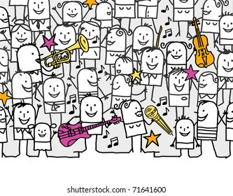 music festival - hand drawn cartoon invitation card