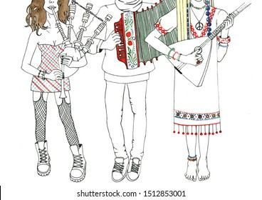 Music Festival. Illustration for poster design. Brunette punk girl plays the bagpipes, a young man plays the accordion, a blonde hippie girl in a folk dress plays the Russian folk instrument balalaika
