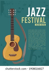 Music festival invitation. Poster placard for live rock concert guitar picture with place for text musically concept