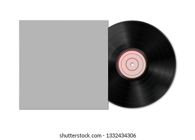 Music gramophone vinyl LP record with blank cover  isolated on white background. Design template of retro long play for advertising, branding, mockup, packaging for graphics 3d illustration