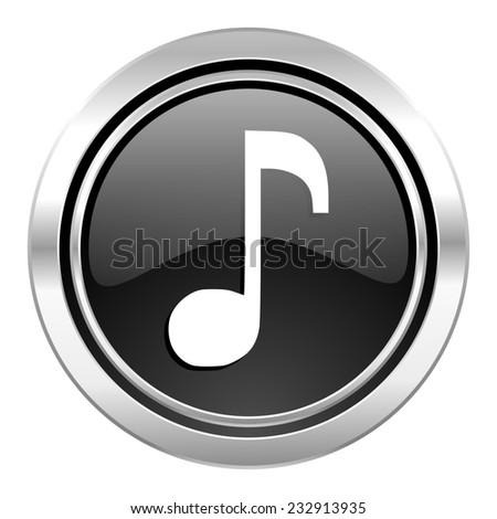 Music Icon Black Chrome Button Note Stock Illustration 232913935
