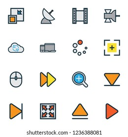 Music icons colored line set with magnifier, eject, video and other begin elements. Isolated  illustration music icons.