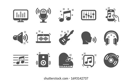 Music icons. Guitar, Musical note and Headphones. Jazz saxophone classic icon set. Quality set.