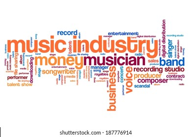Music industry issues and concepts word cloud illustration. Word collage concept.