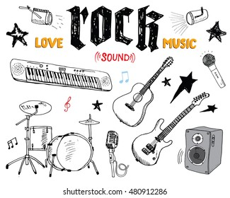 Music Instruments Set. Hand Drawn Sketch, Illustration Isolated