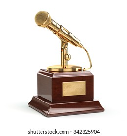 Music or journalism award concept. Gold microphone isolated on white. 3d