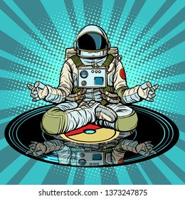 Music for meditation and yoga. Astronaut meditates. Pop art retro  illustration vintage kitsch