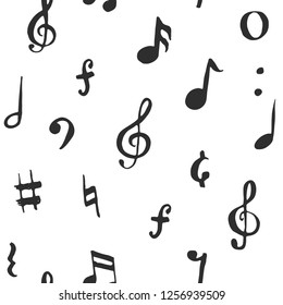 Music note seamless pattern illustration. Hand drawn sketched doodle music notes symbols.